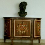 Sideboard Cabinet in Black Walnut with Hand Cut Inlays