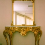 Hand Carved Entry Cabinet with Mirror Finished in Gold Leaf