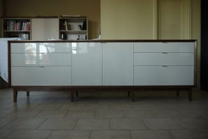 Gloss Lacquer and Walnut Buffet