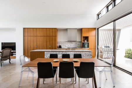 Kitchen in Burmese Teak designed by architect Sandy Anghie - crafted by G Mannino and Sons